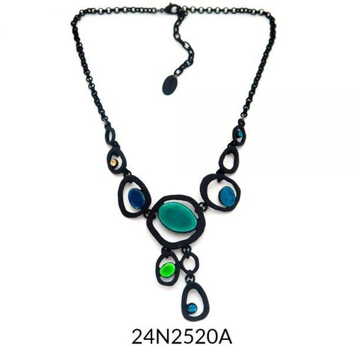 Drop Necklace Black Turquoise Enamel