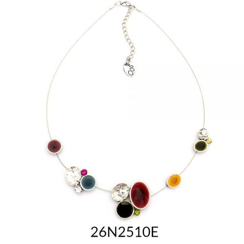 Wire Necklace Silver Multi Enamel