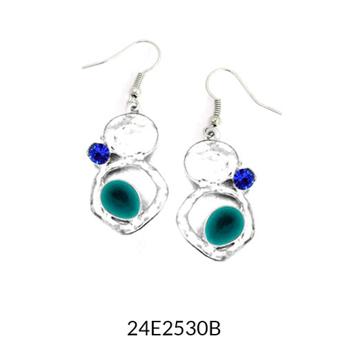 Turquoise Enamel Silver Drop Earrings