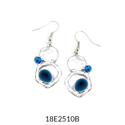 Blue Enamel Silver Drop Earrings