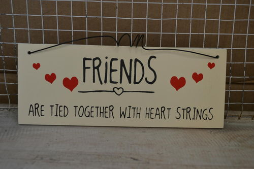 Friends tied together with heart strings- Wall Plaque