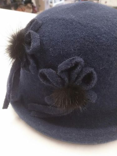 Blue Winter Hat with Black Flower