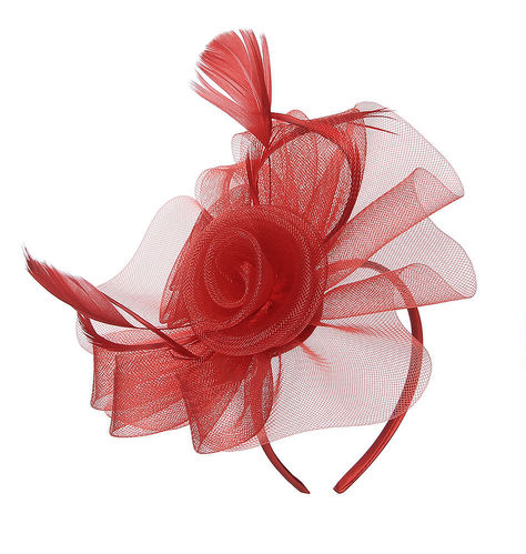 Red Fascinator Two Flowers on Headband Alice Band
