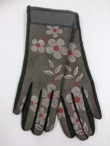 Grey Floral Ladies Gloves