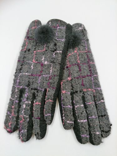 Grey Check Ladies Gloves