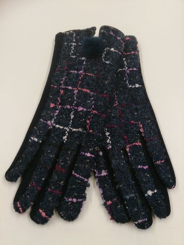 Navy Check Ladies Gloves