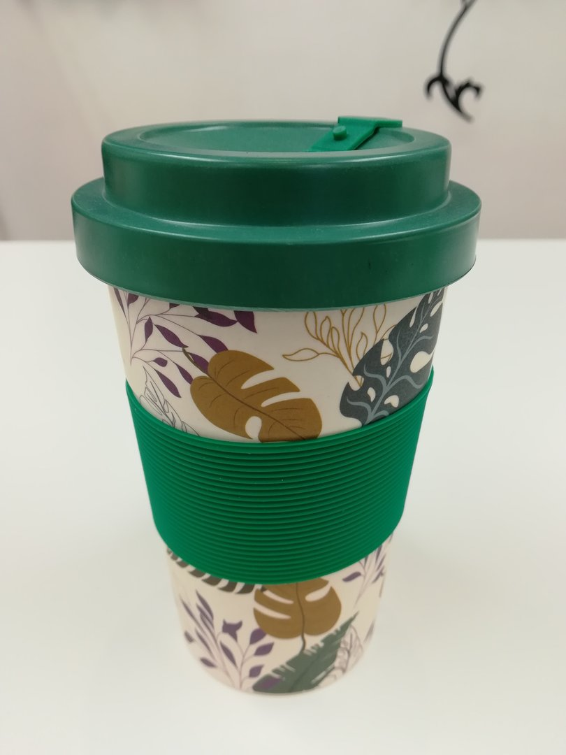 Eco Friendly Reusable Bamboo Cup - Green Leaves