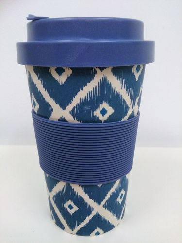 Eco-friendly reausable coffee cup - aztec print Blue