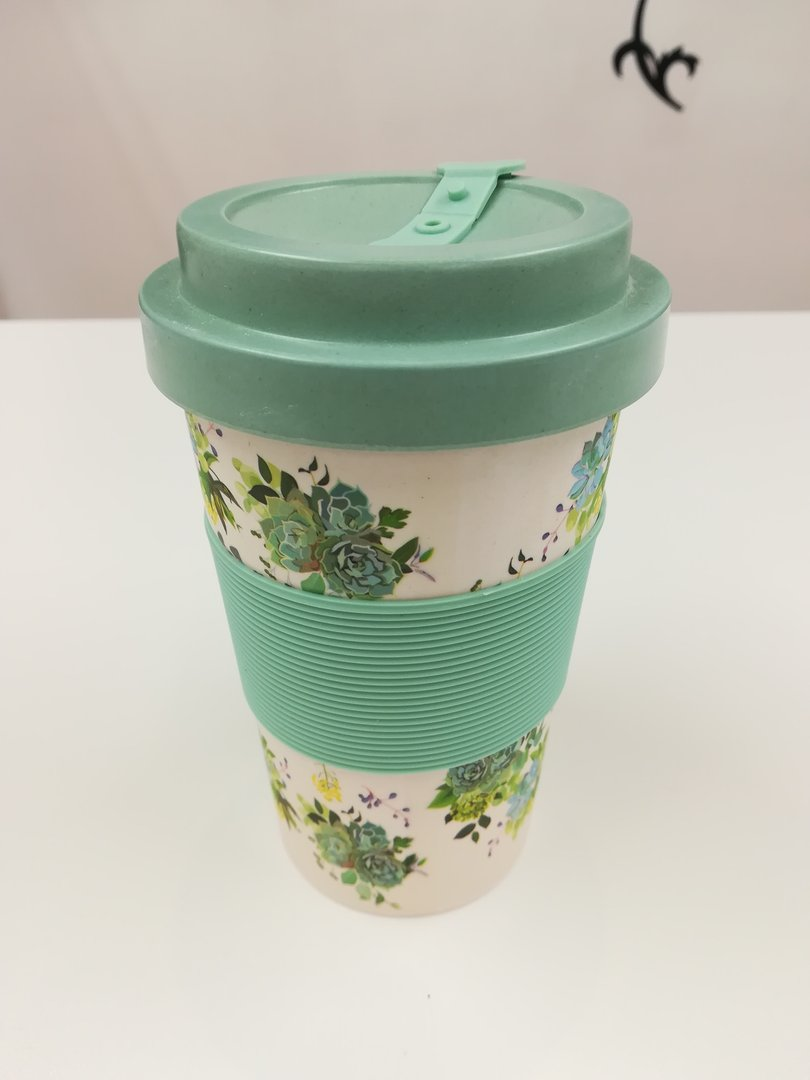 Eco-friendly Reusable Bamboo Coffee Cup - Mint Green Floral Print