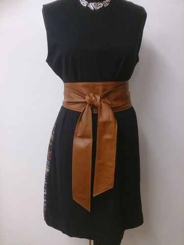 Camel Handmade Leather Obi Sash Wrap Tie Belt