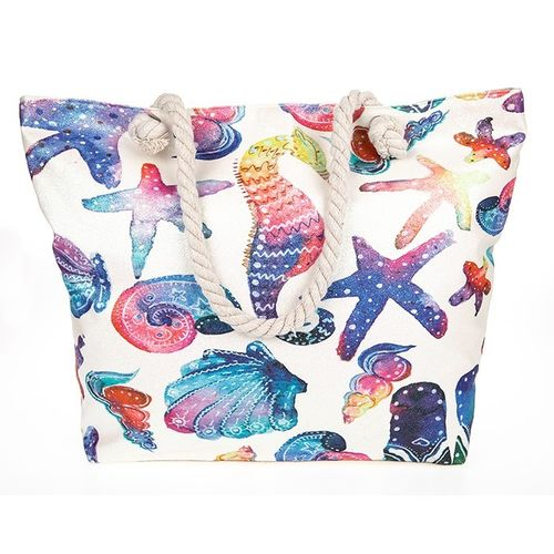 Large Beach Bag Tote with multicolour Shell and Seahorse Print