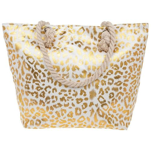 Leopard Animal Metallic Gold Print Beach Bag Tote