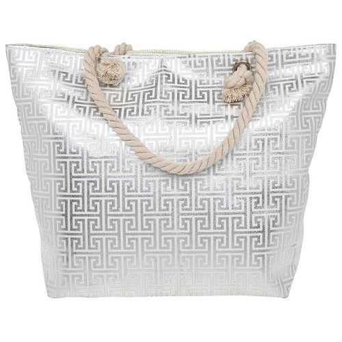 Silver Print Beach Bag Tote