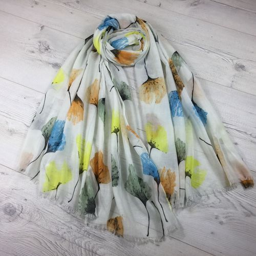 White Scarf with Multicolour Floral Print
