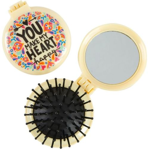 You Make my Heart Happy Folding Pop-Up Hair Brush and Compact Mirror