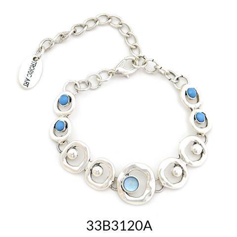 Abstract Bracelet Silver and Blue Acrylic Stones