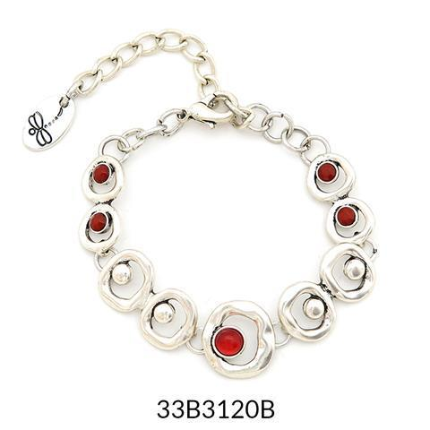 Abstract Bracelet Silver and Red Acrylic Stones