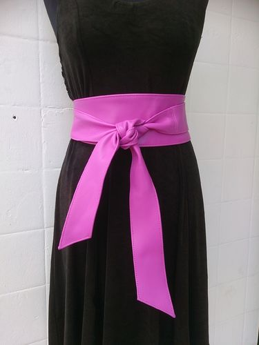 Orchid Pink Handmade Real Leather Obi Belt - Sash Belt