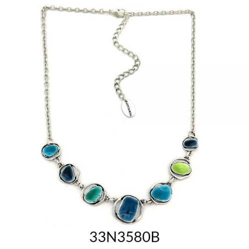 Abstract Enamel Necklace - Turquoise