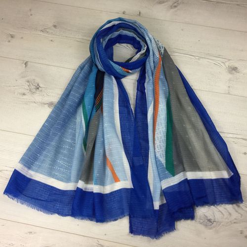 Electric Blue Scarf with Multicolour Print