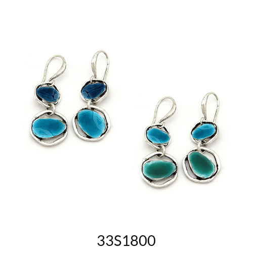 Double Drop Earrings Turquoise