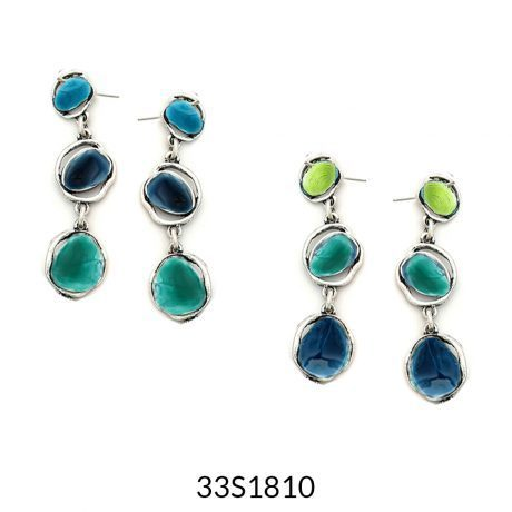 Triple Drop Enamel Earrings Turquoise