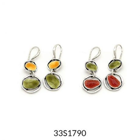 Double Drop Earrings Multi