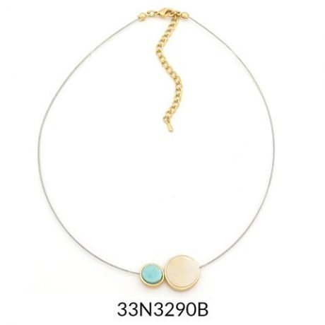 Dainty Seabreeze and Pink Wire Necklace Gold Trim