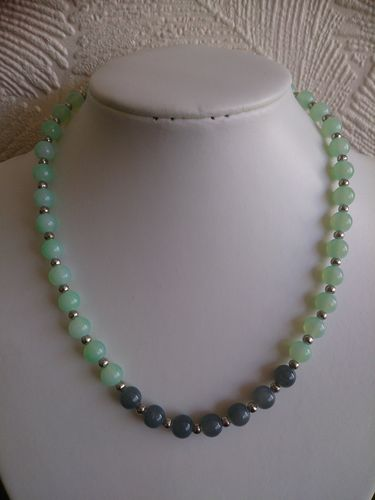 Mint and Grey Beaded Necklace