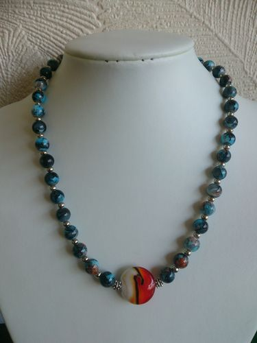 Blue Beaded Necklace with Large Orange Middle Bead