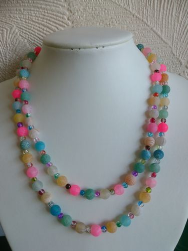 Two Strand Multicolour Rainbow Beaded Necklace