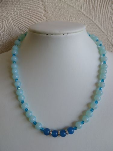 Pale Blue Beaded Necklace
