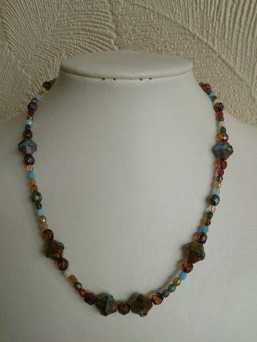 Marbled Blue and Gold Handmade Beaded Necklace - Czech Glass Beads