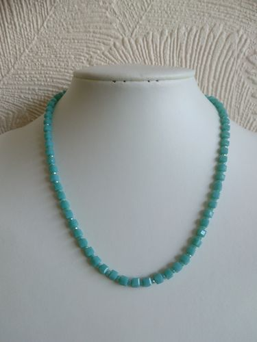 Mint Green Crystal Cubes and Rondelles Necklace
