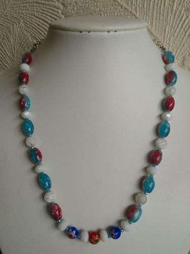 Red and Blue Glass Beaded Necklace