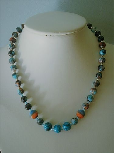 Blue Speckled Beaded Necklace