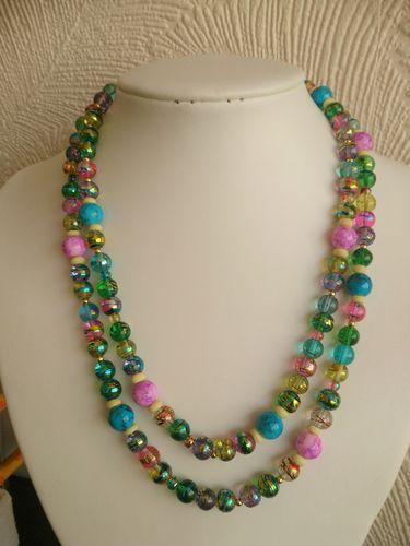 Multicolour Rainbow Asymmentric Beaded Necklace - Two Strands