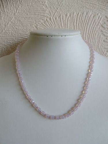 Soft Pink Crystal Cubes and Rondelles Necklace