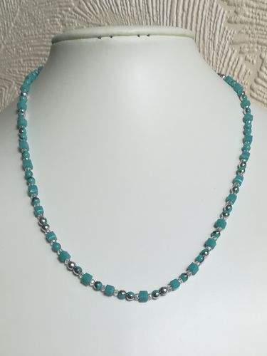 Blue Crystal Cubes Necklace