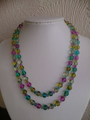 Rainbow Beaded Necklace - Two Strands - Multicolour