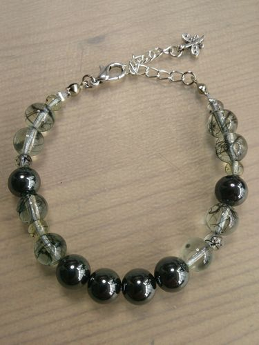 Hematite and Glass Beaded Bracelet