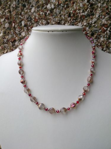 Iridescent Glass Melon Beads and Crystals Necklace