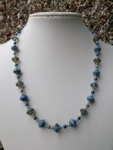 Blue Saturn Czech Glass Beads and Crystal Necklace