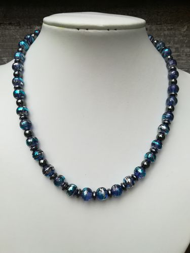 Hematite and Drawbench Glass Beaded Necklace