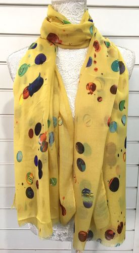 Yellow Scarf wih Multicolour Rainbow Abstract Dots
