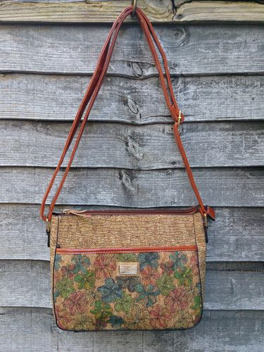 Natural Cork Cross Body Bag with Multicolour Floral Print