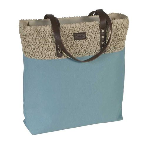 Duck Egg Blue Shoulder Bag - Crochet Trim Tote