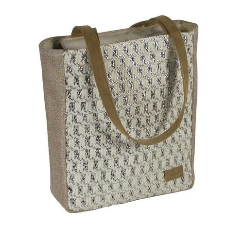 Beige Summer Tote Bag with Silver Front