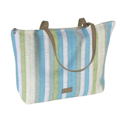 Large Stripy Summer Tote - Turquoise