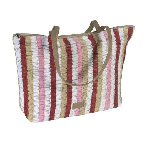 Large Stripy Summer Tote - Red